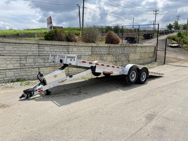 "2020 H&H 7x22' Aluminum Power Tilt Car Hauler Trailer 14000# GVW * 4 SWIVEL D-RINGS * 4 EXTRA STAKE POCKETS * 12K JACK  * SPARE TIRE & MOUNT * TOOLBOX * ALUMINUM WHEELS * HEAVY DUTY 8"" FRAME * REMOVABLE FENDERS * ADJUSTABLE COUPLER * 4"" CHANNEL C/M"
