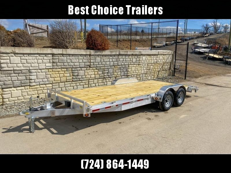 """2021 QSA 7x20' Aluminum Car Trailer 9850# GVW * REMOVABLE FENDERS * LOTS OF TIE DOWNS * PUNCH PLATE RAMPS * SPARE MOUNT * WEIGHT DIST. BRACKETS * 14"""" O.C. C/M * CLEARANCE"""