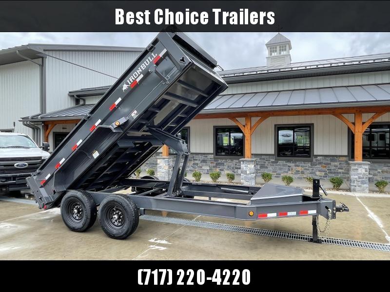 "2021 Ironbull 7x14' Dump Trailer 14000# GVW * TARP KIT * SCISSOR HOIST * 8"" I-BEAM FRAME * 1PC 7 GA FLOOR * COMBO GATE * UNDERBODY BED RUNNERS * OVERSIZED TOOLBOX * DEXTER AXLES * IRONCLAD WARRANTY * CLEARANCE"