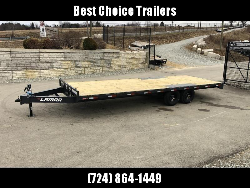 "2021 Lamar 102x20' Flatbed Deckover Trailer 14000# GVW * 8' SLIDE IN RAMPS * CHARCOAL * TOOL TRAY * HD CAST COUPLER * I-BEAM FRAME * 16"" O.C. C/M * RUBRAIL/STAKE POCKETS/PIPE SPOOLS * CHANNEL SIDE RAIL * 12K JACK"