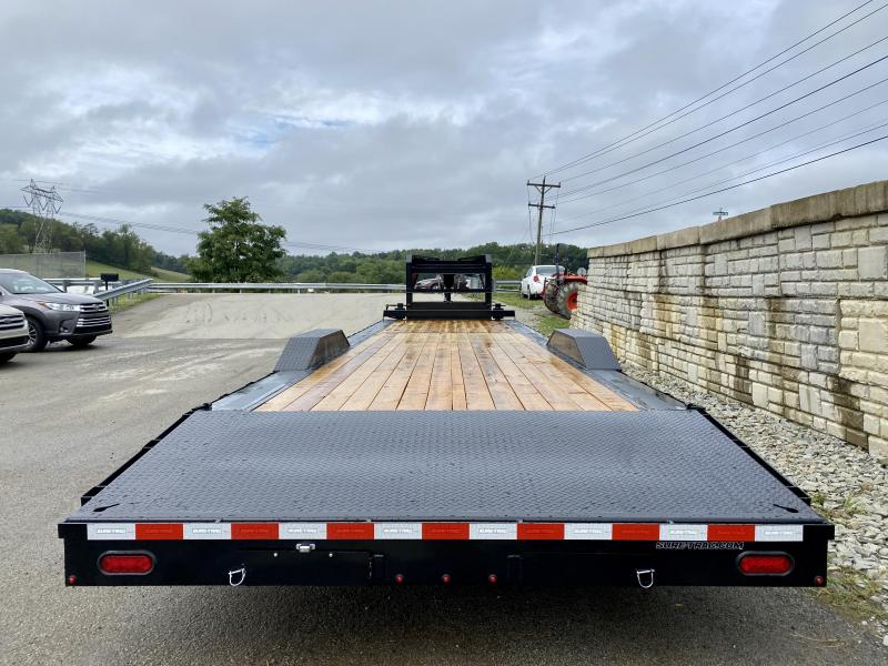 "2021 Sure-Trac 102x36' Gooseneck Car Hauler Equipment Trailer 16000# GVW * 8' SLIDE OUT PUNCH PLATE RAMPS * 102"" DECK * DRIVE OVER FENDERS * BUGGY HAULER * DUAL JACKS * FRONT TOOLBOX * RUBRAIL/STAKE POCKETS/D-RINGS * 17.5"" 16-PLY RUBBER"