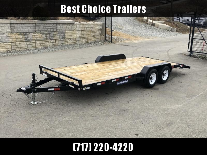 2021 Sure-Trac 7x20' Wood Deck Car Hauler 9900# GVW * REAR SLIDE OUT PUNCH PLATE FINGERJOINTED RAMPS * DIAMOND PLATE FENDERS * SEALED WIRING HARNESS * SET BACK JACK * STAKE POCKETS/D-RINGS * DIAMOND PLATE DOVETAIL