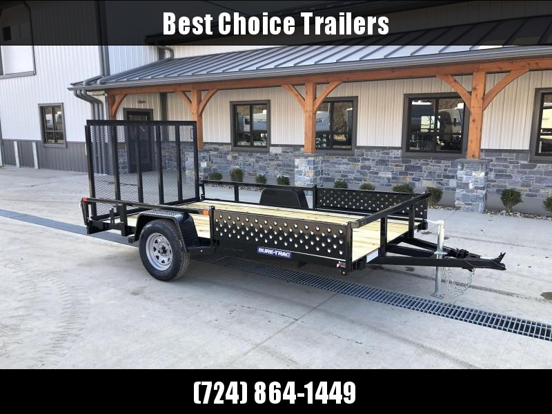 "2021 Sure-Trac 7x14' ATV Utility Landscape Trailer 2990# GVW * 2"" TUBE TOP RAIL * ATV RAMPS * FULL WRAP TONGUE * 2X2"" TUBE GATE C/M + SPRING ASSIST + FOLD FLAT * SPARE MOUNT * PROTECTED WIRING * SET BACK JACK * TRIPLE TUBE TONGUE * STAKE POCKETS * BULLET"