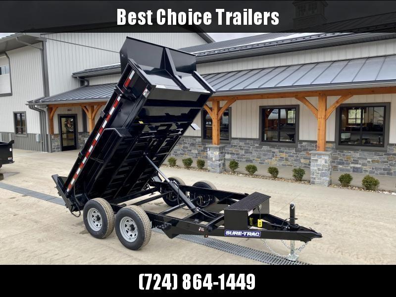 "2022 Sure-Trac 6x10' Dump Trailer 9900# GVW * UNDERMOUNT RAMPS * COMBO GATE * 7K DROP LEG JACK * FRONT/REAR BULKHEAD * INTEGRATED KEYWAY * SPARE MOUNT * HD FENDERS * 4"" TUBE BEDFRAME * TRIPLE TUBE TONGUE * POWDERCOATED * SEALED HARNESS"