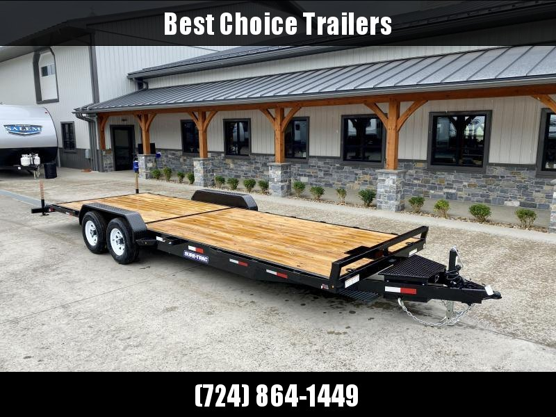 2021 Sure-Trac 7x24' Wood Deck Car Hauler 9900# GVW * RUBRAIL * DROP IN TOOLBOX * WINCH PLATE * REAR SUPPORT STANDS * REAR SLIDE OUT PUNCH PLATE FINGERJOINTED RAMPS * DIAMOND PLATE FENDERS * SEALED WIRING HARNESS * SET BACK JACK * STAKE POCKETS/D-RINGS *