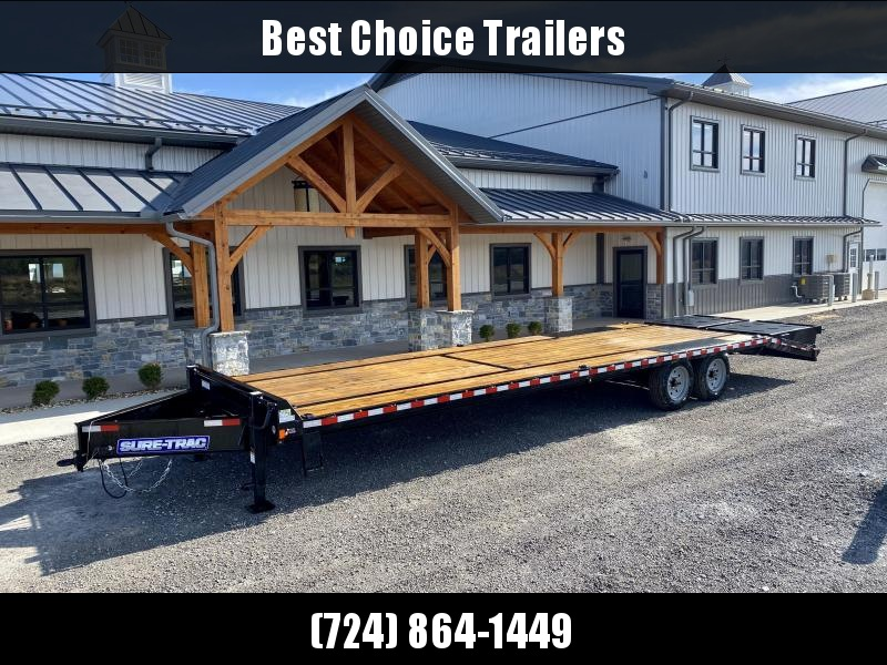 "2020 Sure-Trac 102x30' HD Beavertail Deckover Trailer 17600# GVW * 8000# AXLES * 17.5"" 16-PLY TIRES * 3 3/8"" BRAKES * FULL WIDTH RAMPS * 12"" I-BEAM * PIERCED FRAME * RUBRAIL/STAKE POCKETS/PIPE SPOOLS/10 D-RINGS * CROSS TRAC BRACING"