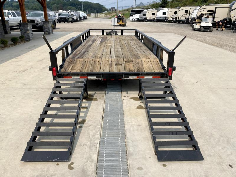 USED 2014 Quality Trailers 7x18' Utility Landscape Trailer 9990# GVW * 5' HD EQUIPMENT STYLE STAND UP RAMPS * 2' BEAVERTAIL * TUBE TOP * 9500# WINCH * D-RINGS/STAKE POCKETS * SPARE TIRE MOUNT