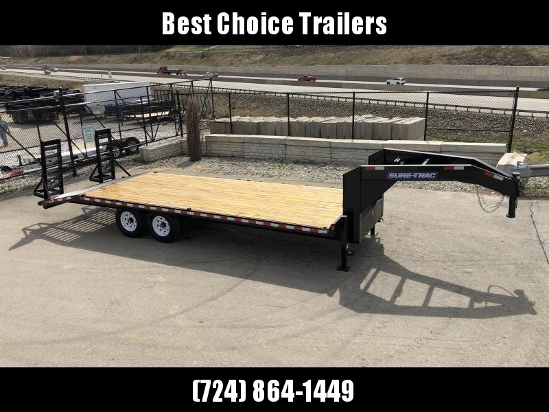 "2020 Sure-Trac 102x22 Gooseneck Beavertail Deckover Trailer 15000# GVW * FULL TOOLBOX * DUAL 12K JACKS * HD 4"" CHANNEL STAND UP DELUXE RAMPS + SPRING ASSIST * 10"" I-BEAM MAINFRAME * CHANNEL SIDE RAIL * RUBRAIL/STAKE POCKETS/D-RINGS * LED'S"