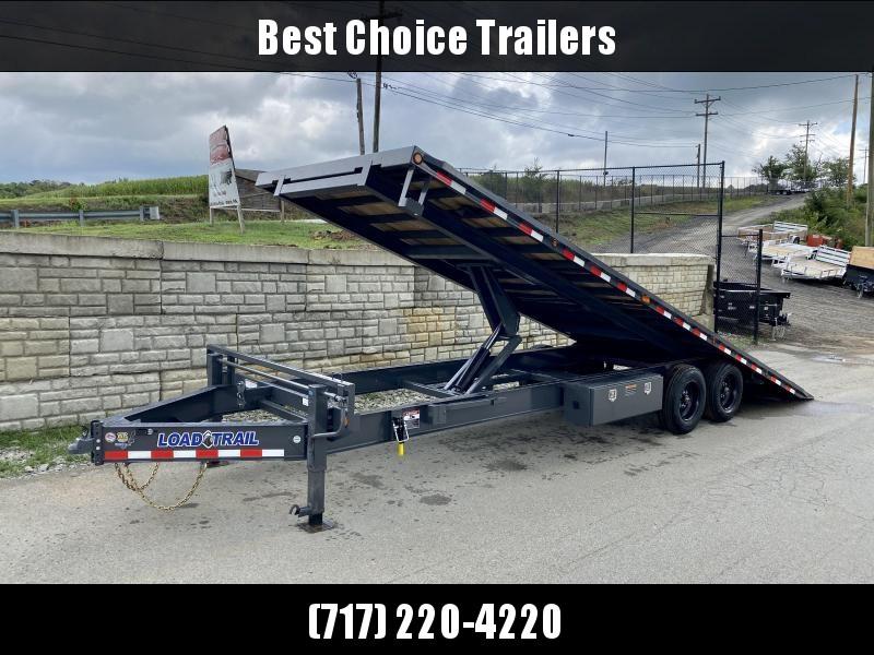 "2021 Load Trail 102x26' Deckover Power Tilt Trailer 16000# GVW * WINCH PLATE * GRAY * BLACKWOOD PRO * SCISSOR HOIST * 10""/12# I-BEAM MAINFRAME * 6""/12# I-BEAM BEDFRAME * SIDE TOOLBOX * CHAIN TRAY * DUAL JACKS * WINCH PLATE * 17.5"" RUBBER * OIL BATH HUBS *"