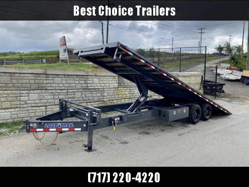 "2021 Load Trail 102x26' Deckover Power Tilt Trailer 16000# GVW * WINCH PLATE * GRAY * BLACKWOOD PRO * SCISSOR HOIST * 10""/12# I-BEAM MAINFRAME * 6""/12# I-BEAM BEDFRAME * SIDE TOOLBOX * CHAIN TRAY * DUAL JACKS * WINCH PLATE * 17.5"" RUBBER * OIL BATH HUBS *"