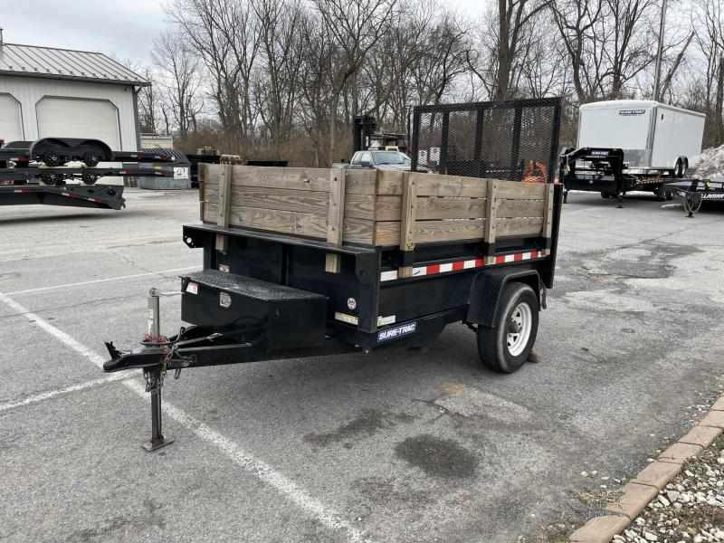 USED 2018 Sure-Trac 5x8 Dump Trailer * HIGH SIDES * 2-WAY LANDSCAPE GATE * POWER UP/DOWN * SPARE MOUNT