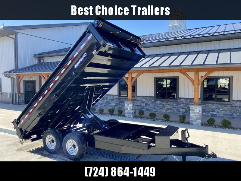 """2021 Sure-Trac 8x14' Deckover Dump Trailer 14000# GVW * DELUXE TARP * 20"""" FOLD DOWN SIDES * EXTENDED 90"""" UNDERMOUNT RAMPS * OVERSIZE 8"""" TUBE TONGUE/6"""" HEAVY WALL FRAME * 12K JACK * 6"""" SCISSOR HOIST * INTEGRATED KEYWAY * UNDERBODY TOOL TRAY"""
