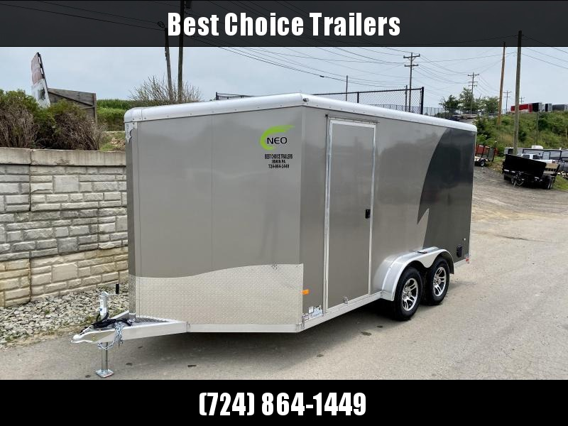 "2021 Neo 7.5x14' NAMR Aluminum Enclosed Motorcycle Trailer * VINYL WALLS * ALUMINUM WHEELS * +12"" HEIGHT * PEWTER+CHARCOAL * LOADING LIGHT * TORSION SUSPENSION * DRIVERS SIDE DOOR"