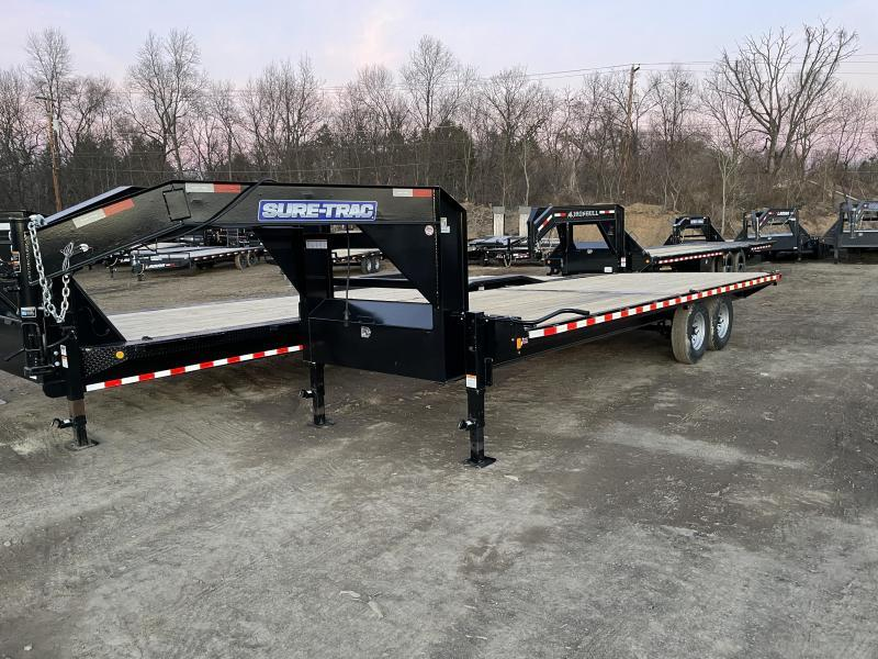 2021 Sure-Trac 102x22 Gooseneck Deckover Flatbed Trailer 15000# GVW * STRAIGHT DECK * I-BEAM MAINFRAME & NECK * CHANNEL SIDE RAIL * RUBRAIL/STAKE POCKETS/D-RINGS * GOOSEENCK COUPLER * DUAL 12K DROP LEG JACKS * FULL FRONT TOOLBOX