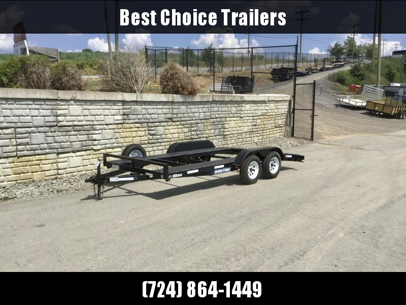 USED 2014 Sure-Trac 7x16' Open Deck Steel Car Trailer 7000# GVW * SPARE TIRE * SLIDE OUT RAMPS
