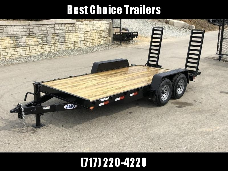 "2021 AMO 7x16' Equipment Trailer 12000# GVW * ALL LED LIGHTS * STAND UP RAMPS * BEAVERTAIL * STACKED 6"" CHANNEL TONGUE/FRAME * 12K DROP LEG JACK * REMOVABLE FENDERS"