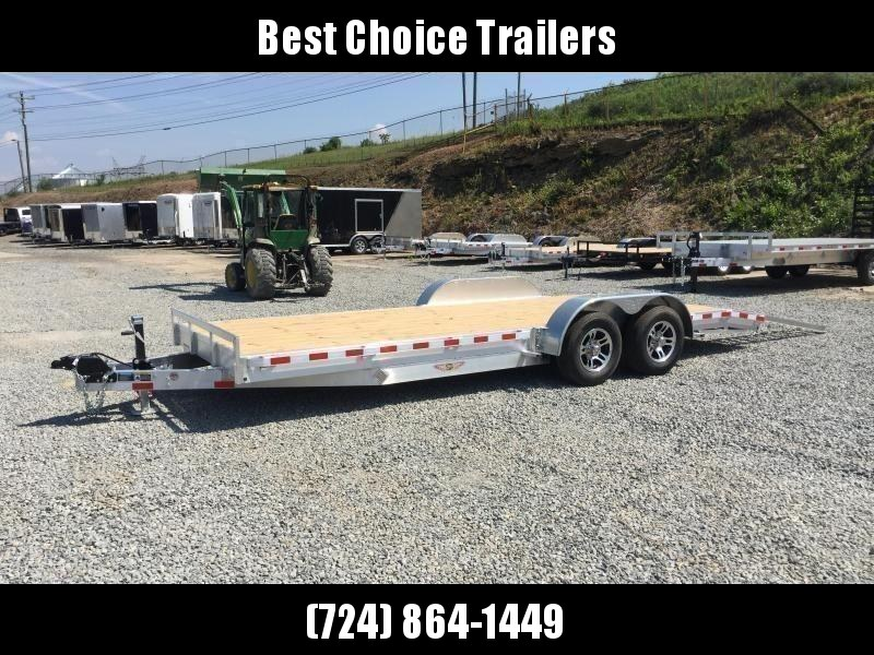 "2021 H&H 7x20' Aluminum Car Hauler Trailer 9990# GVW * HEAVY DUTY 8"" FRAME * EXTRUDED BEAVERTAIL * DROP LEG JACK * ALUMINUM WHEELS * REMOVABLE FENDERS * CHANNEL C/M * RUBRAIL"