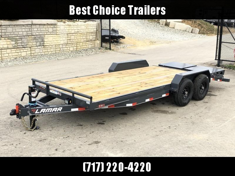 2020 Lamar 7x20' Equipment Trailer 14000# GVW - FULL WIDTH RAMPS * CHARCOAL * 2-SPEED JACK