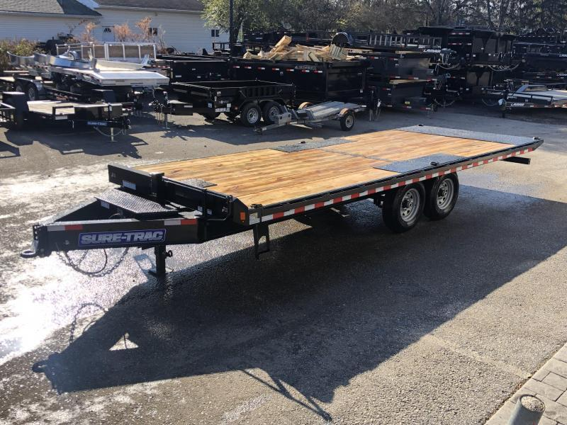 "2021 Sure-Trac 102x22' Power Tilt Deckover 15000# GVW * HYDRAULIC JACK * WINCH PLATE * OAK DECK UPGRADE * 10"" I-BEAM MAINFRAME * 6"" TUBE SIDE RAIL * RUBRAIL/STAKE POCKETS/PIPE SPOOLS/8 D-RINGS * LOW LOAD ANGLE"