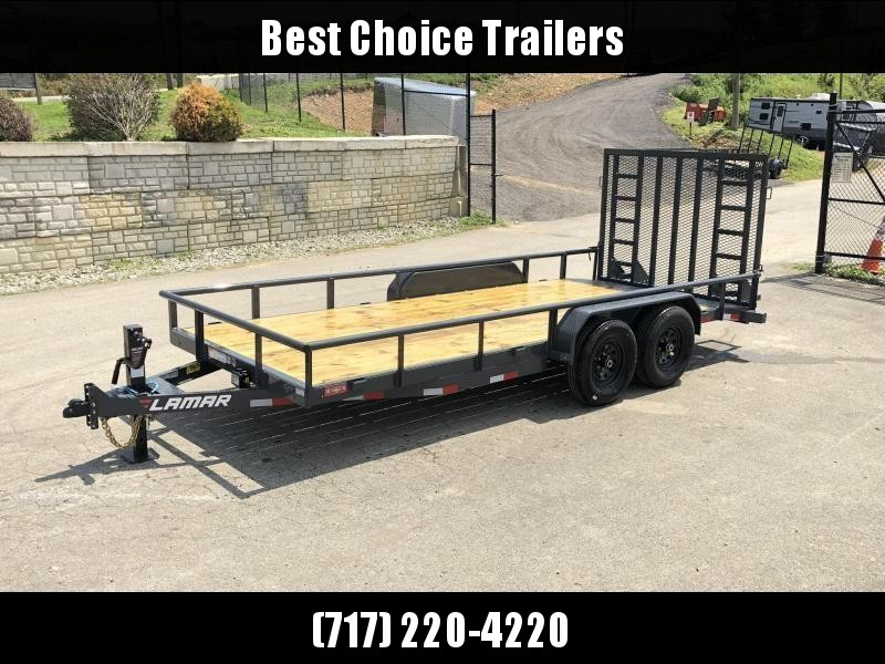 "2021 Lamar 7x22' Utility Landscape Trailer 9990# GVW * 5' HD RAMP W/ SPRING ASST * 16"" 10-PLY TIRES * 12K JACK * PIPE TOP * CHARCOAL * 5"" CHANNEL TONGUE/FRAME * CHANNEL C/M * ADJUSTABLE COUPLER"