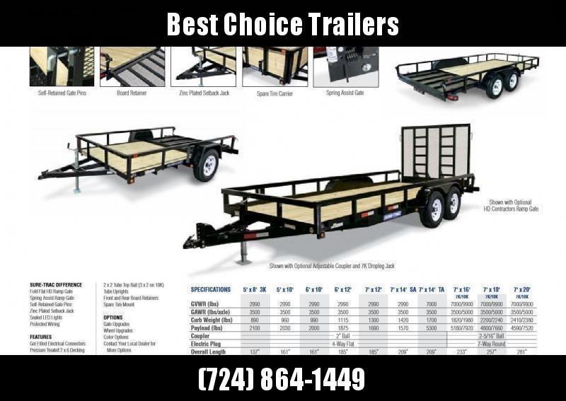 2021 Sure-Trac 7x18' 9900# gvw utility landscape trailer st8218tat-b-100