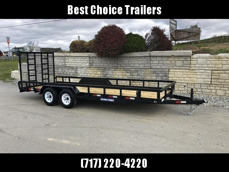 "2021 Sure-Trac 7x18 Tube Top Utility Landscape Trailer 9900# GVW * PROFESSIONAL LANDSCAPE SERIES * HD REINFORCED GATE+SPRING ASSIST * 5"" TONGUE & FRAME * 7K JACK * 2X3"" TUBE TOP RAIL * SPARE MOUNT * PROTECTED WIRING * TRIPLE TONGUE * STAKE POCKETS * BULLE"
