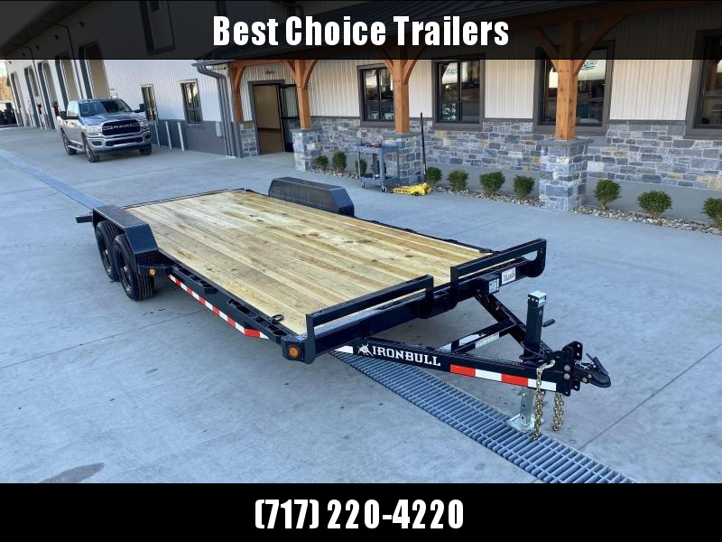 "2020 Ironbull 7x20' Wood Deck Car Hauler Trailer 9990# GVW * OVERWIDTH REAR SLIDEOUT RAMPS * 16"" O.C. FLOOR * CHANNEL C/M * RUBRAIL/STAKE POCKETS/PIPE SPOOLS/D-RINGS * ADJUSTABLE COUPLER * 7K JACK * 2-3-2- WARRANTY * DEXTER'S"