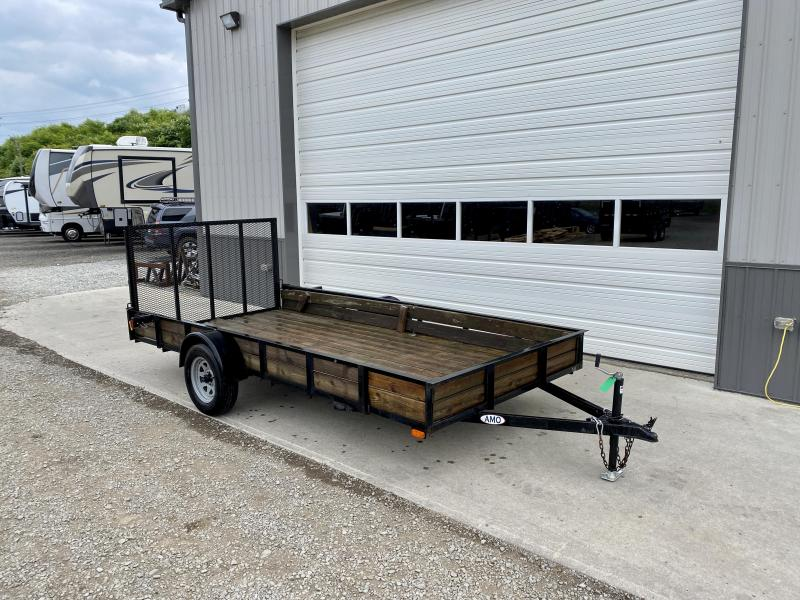 """USED 2018 AMO 78x14' Utility Landscape Trailer 2990# GVW * 4' GATE * TOOLESS GATE REMOVAL * 3500# AXLE * 15"""" RADIAL TIRES * WOOD SIDES *"""