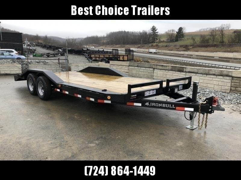 "2021 Ironbull 102""x20' Buggy Hauler Car Trailer 9990# GVW * 102"" DECK * DRIVE OVER FENDERS * 16"" O.C. FLOOR * 6"" CHANNEL TONGUE/FRAME * CHANNEL C/M * RUBRAIL/STAKE POCKETS/PIPE SPOOLS/D-RINGS * ADJUSTABLE COUPLER * DROP LEG JACK * DEXTER'S"