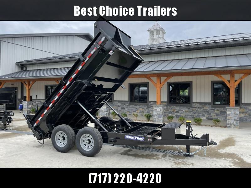 2021 Sure-Trac 7x12' Dump Trailer 14000# GVW * TARP KIT * DUAL PISTON * FRONT/REAR BULKHEAD * INTEGRATED KEYWAY * 2' SIDES * UNDERBODY TOOL TRAY * ADJUSTABLE COUPLER * 110V CHARGER * UNDERMOUNT RAMPS * COMBO GATE * 12K DROP LEG JACK