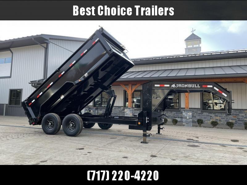"""2021 Iron Bull 7x12' Gooseneck Dump Trailer 14000# GVW * 7 GAUGE FLOOR * 48"""" HIGH SIDES * TARP KIT * DUAL 12K JACKS * D-RINGS * DEXTER AXLES * SCISSOR HOIST * TOOLBOX"""