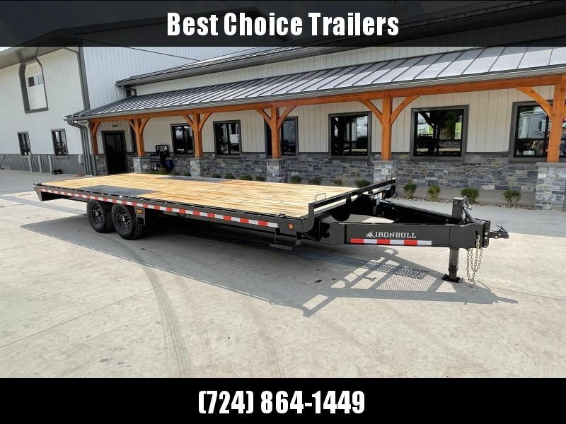 2022 Ironbull 102x24' Beavertail Deckover 14000# GVW * I-BEAM FRAME * RUBRAIL/STAKE POCKETS/PIPE SPOOLS/D-RINGS * CHAIN TRAY * TUBE SIDE RAIL * DEXTER'S * IRONCLAD WARRANTY * CLEARANCE