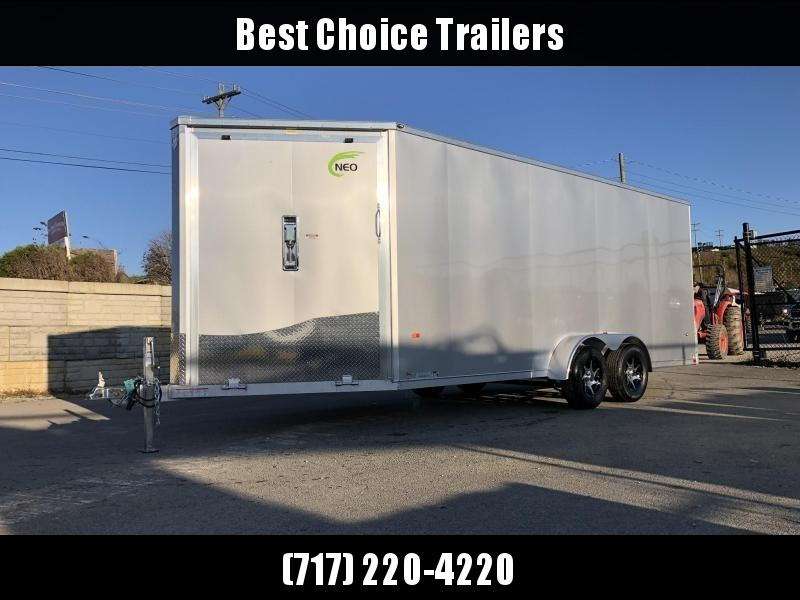 "2020 Neo 7x22' NASF Aluminum Enclosed All-Sport Trailer 7000# GVW * 7' HEIGHT UTV PKG * WHITE EXTERIOR * FRONT/REAR NXP RAMP * VINYL WALLS * SPORT TIE DOWN SYSTEM * 16"" O.C. FLOOR * PRO STAB JACKS * UPPER CABINET * ALUMINUM WHEELS * SCREWLESS * 1 PC ROOF"