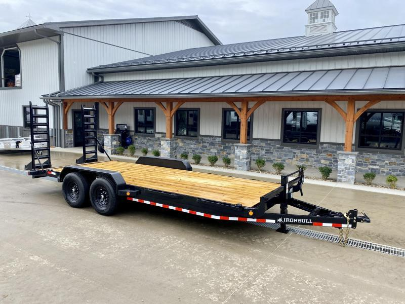 """2022 Ironbull 7x20' Equipment Trailer 14000# GVW * KNIFEEDGE RAMP W/ ADJUSTABLE SUPPORT * REMOVABLE FENDERS * 16"""" O.C. STRUCTURAL CHANNEL C/M * RUBRAIL/STAKE POCKETS/PIPE SPOOLS/D-RINGS * ADJUSTABLE CAST COUPLER * 12K JACK * DEXTER'S"""