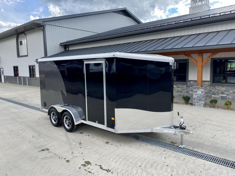"""2022 NEO Trailers 7X14' NAMR Aluminum Enclosed Motorcycle Trailer * BLACK+CHARCOAL * VINYL WALLS * +6"""" HEIGHT * ALUMINUM WHEELS * TIE DOWN SYSTEM"""