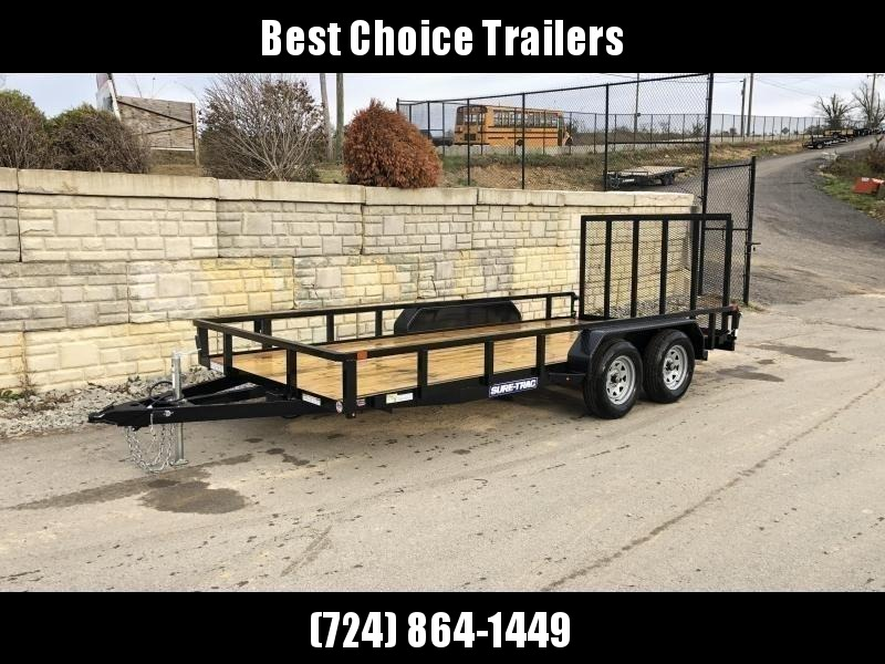 "2020 Sure-Trac 7x16' Tube Top Utility Landscape Trailer 7000# GVW * 2"" TUBE TOP RAIL * 2X2"" TUBE GATE C/M + SPRING ASSIST + FOLD FLAT * TOOLESS GATE REMOVAL * SPARE MOUNT * PROTECTED WIRING * SET BACK JACK * TRIPLE TUBE TONGUE * STAKE POCKETS * BULLET LED"