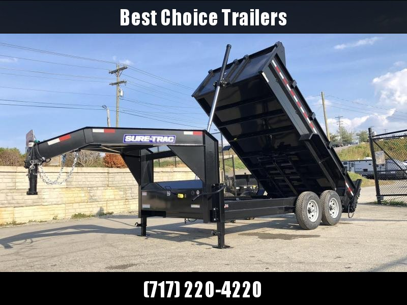 2020 Sure-Trac 7x14' 14000# Low Profile HD GOOSENECK Dump Trailer * TELESCOPIC HOIST * TARP KIT * 7 GA FLOOR * DUAL HYDRAULIC JACKS