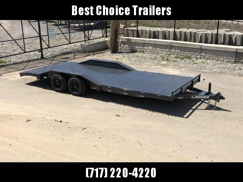 "2021 Lamar 102x22' Buggy Hauler Car Trailer 9990# GVW * 102"" DECK * DRIVE OVER FENDERS * 11GA STEEL DECK * CHARCOAL POWDERCOATING * 7K DROP LEG JACK * CHANNEL C/M * ADJUSTABLE COUPLER * RUBRAIL"