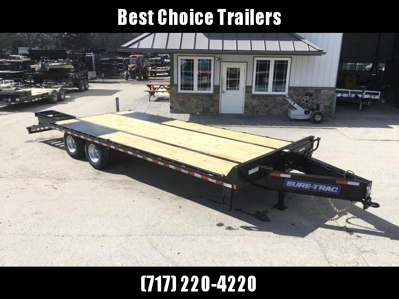 """2021 Sure-Trac 102x30' HD Beavertail Deckover Trailer 22500# GVW * DEXTER AXLES * FLIPOVER RAMPS + SPRING ASSIST * 12"""" I-BEAM * PIERCED FRAME * RUBRAIL/STAKE POCKETS/PIPE SPOOLS/10 D-RINGS * CROSS TRAC BRACING * HD BEAVERTAIL * CLEARANCE"""