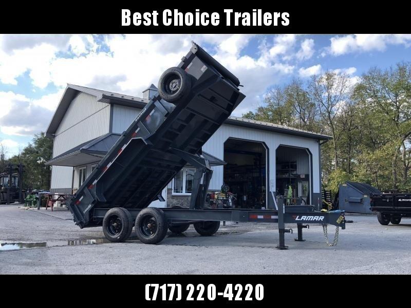 "2021 Lamar 7x16' Dump Trailer 16000# GVW * DEXTER 8K AXLE UPGRADE * OVERSIZE 6X21.5 11-TON SCISSOR HOIST * 7GA FLOOR * 17.5"" 16-PLY TIRES * JACKSTANDS * TARP KIT * CHARCOAL * RIGID RAILS * NESTLED I-BEAM FRAME 28"" H * 12"" O.C"