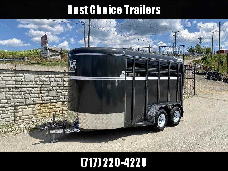 "2021 Corn Pro 7x14' Livestock Trailer 7000# GVW * GRAY * TORSION SUSPENSION * DEXTER AXLES * 225/75/R15 8-PLY TIRES * HD FENDERS * CENTER AND REAR SLAM GATES * 4"" CHANNEL TONGUE * URETHANE PAINT * KILN DRIED LUMBER * 7' HEIGHT * 2 HORSE SLANT"