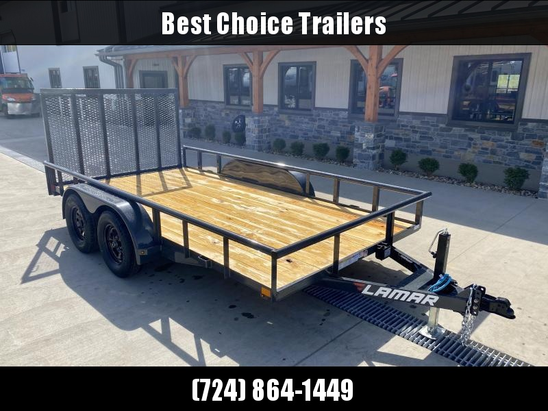 "2021 Lamar 7x14' Deluxe Utility Landscape Trailer 7000# GVW * ADJUSTABLE COUPLER * PIPE TOP RAIL * 7K DROP LEG JACK * CHARCOAL * HD GATE/2X2"" TUBE C/M + SPRING ASSIST * COLD WEATHER HARNESS * 4"" CHANNEL TONGUE * STAKE POCKETS * TEARDROP FENDERS * BULLET L"