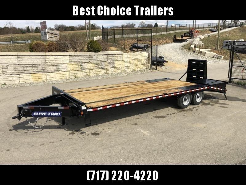 "2020 Sure-Trac 102x25' HD Beavertail Deckover Trailer 22500# GVW * FULL WIDTH RAMPS (STAND UP OR FLIPOVER) * DUAL JACKS * TOOLBOX * DEXTER AXLES * 12"" I-BEAM * PIERCED FRAME * RUBRAIL/STAKE POCKETS/PIPE SPOOLS/10 D-RINGS * CROSS TRAC BRACING * HD BEAVERTA"