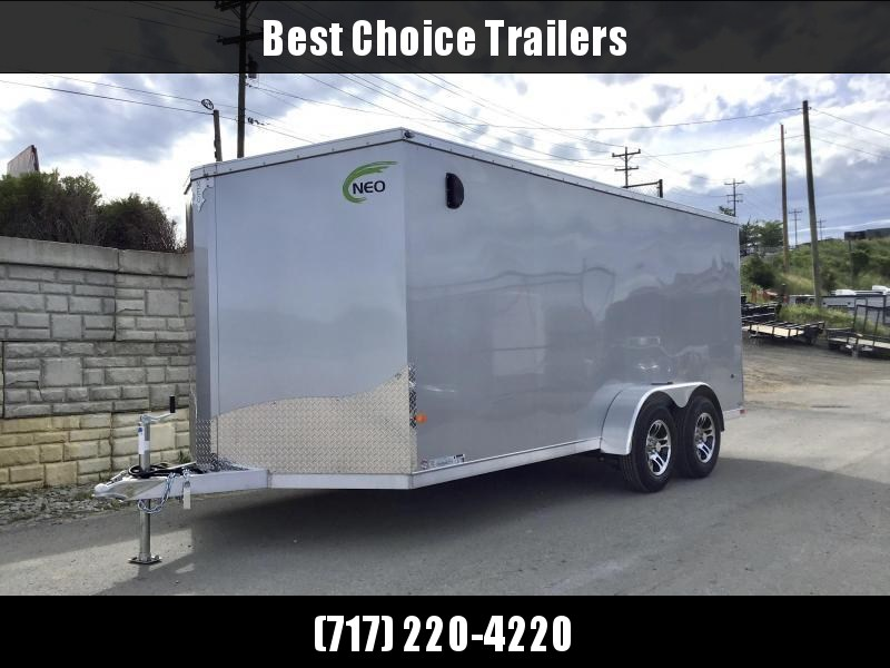 2021 Neo 7x16 NAVF Aluminum Enclosed Cargo Trailer * RAMP DOOR * CHARCOAL EXTERIOR * ALUMINUM WHEELS * SCREWLESS EXTERIOR * 1PC ROOF * RV DOOR
