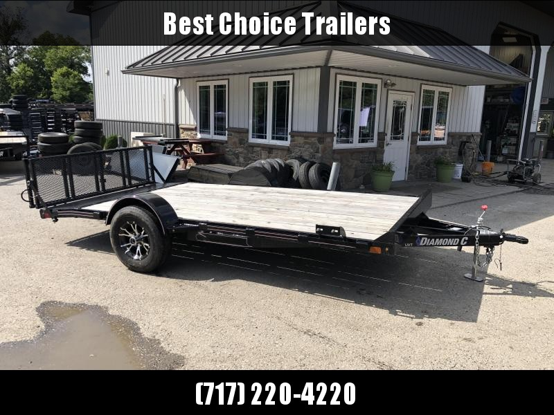 USED 2019 Diamond C 7x14' Single Axle Utility Trailer * 5200lb Axle * Electric Brakes * Bi Fold Gate * Aluminum Wheels * 4in Channel Tongue/Frame