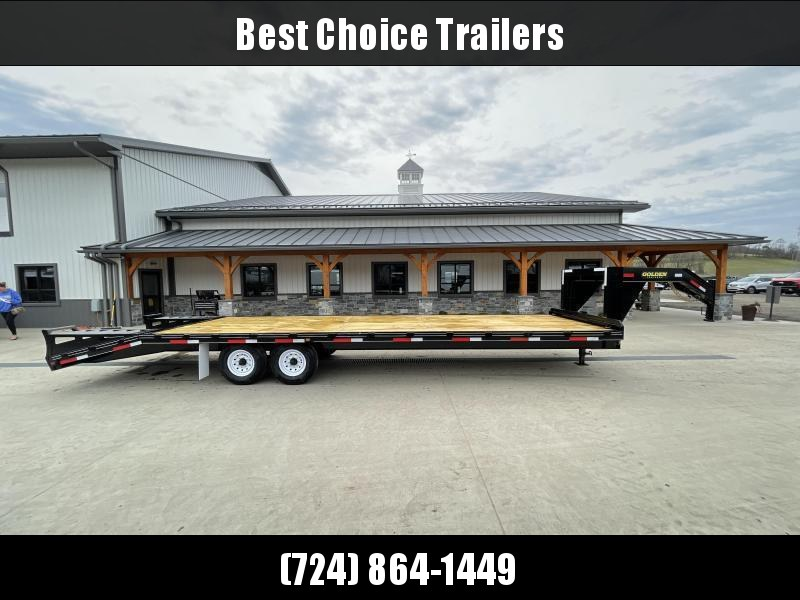 2021 Golden by Corn Pro 102x30' Beavertail Gooseneck Deckover Trailer 14000# GVW * WEDGE FLIPOVER RAMPS + SPRING ASSIST * RUBRAIL/STAKE POCKETS * SPARE TIRE MOUNT * 12K DROP LEG JACK * MUDFLAPS * CHAIN TRAY