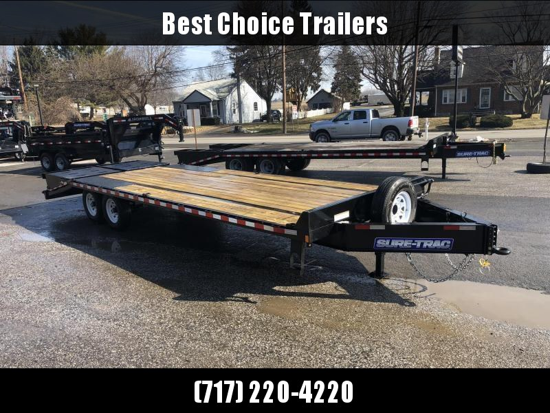 "2021 Sure-Trac 102x25' HD Beavertail Deckover Trailer 15000# GVW * FULL WIDTH RAMPS (STAND UP OR FLIPOVER) * INTEGRATED TOOLBOX * DUAL JACKS * 12"" I-BEAM MAINFRAME * PIERCED FRAME * RUBRAIL/STAKE POCKETS/PIPE SPOOLS/10 D-RINGS * CROSS TRAC BRACING"