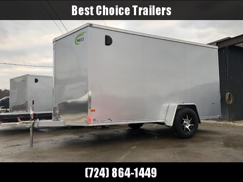 2021 Neo 6x12' NAVF Aluminum Enclosed Cargo Trailer * RAMP DOOR * SILVER * ALUMINUM WHEELS