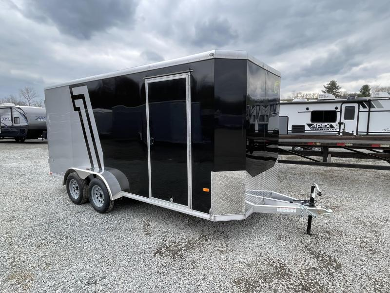 "2021 NEO 7x16' NAC Aluminum Bullnose Enclosed Cargo Trailer  * 7' HEIGHT UPG * JD SLASH 2-TONE * BLACK AND SILVER * ALUMINUM WHEELS * 16"" O.C. WALLS/CEILING * BARN DOORS"