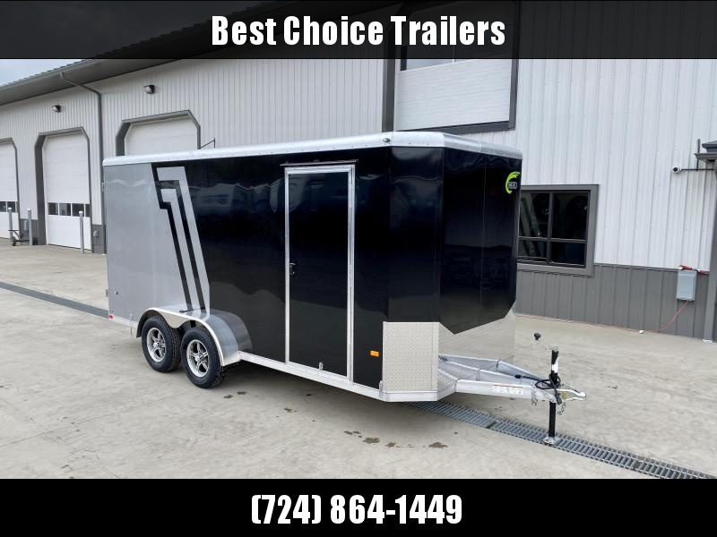 "2021 NEO 7x16' NAC Aluminum Bullnose Enclosed Cargo Trailer  * 7' HEIGHT UPG * JD SLASH 2-TONE * BLACK AND SILVER * ALUMINUM WHEELS * 16"" O.C. WALLS/CEILING * BARN DOORS"